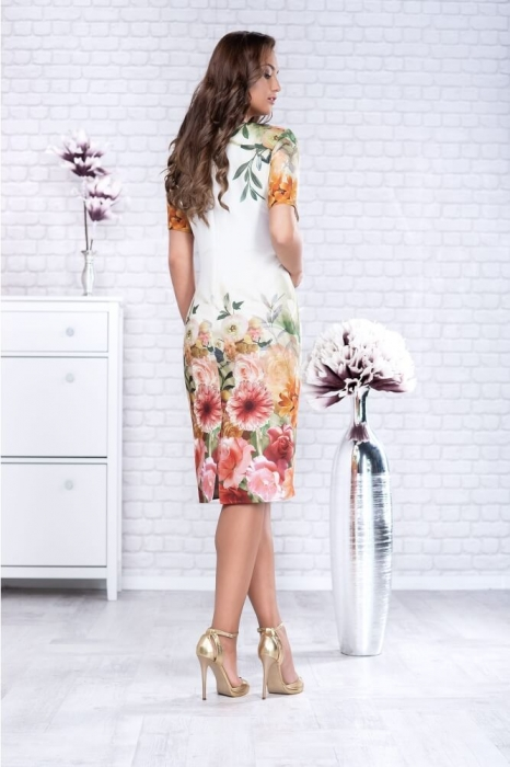 Rochii elegante de zi - Rochie eleganta midi imprimeu floral Oana alb 1
