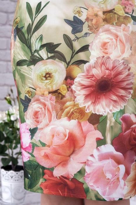 Rochii elegante de zi - Rochie eleganta midi imprimeu floral Oana alb 3