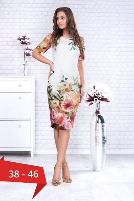 Rochii elegante de zi - Rochie eleganta midi imprimeu floral Oana alb 0