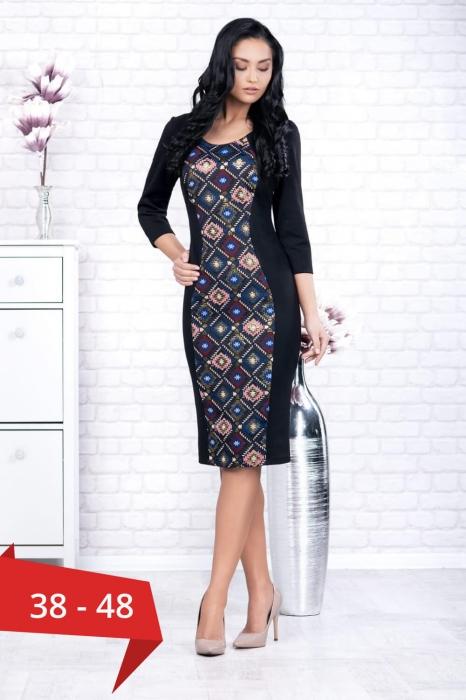Rochii casual ieftine - Rochie neagra casual cu imprimeu Ania 0