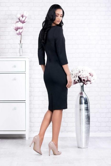 Rochii casual ieftine - Rochie neagra casual cu imprimeu Ania 2