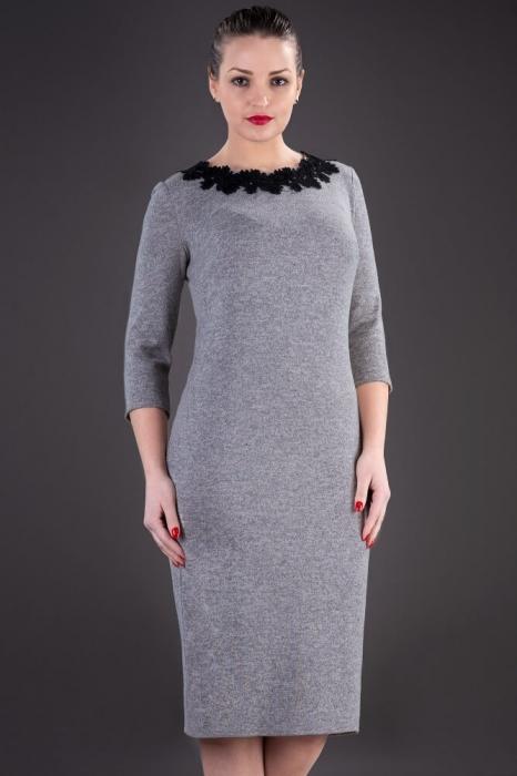 Rochii XXL ieftine - Rochie midi de zi din tricot Penelope gri 1