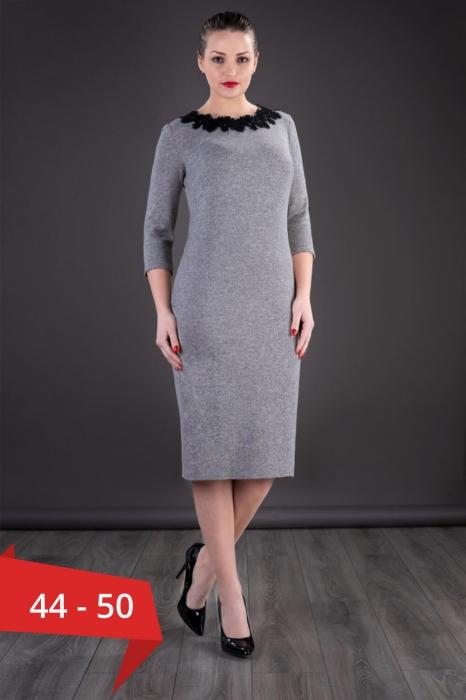 Rochii XXL ieftine - Rochie midi de zi din tricot Penelope gri 0