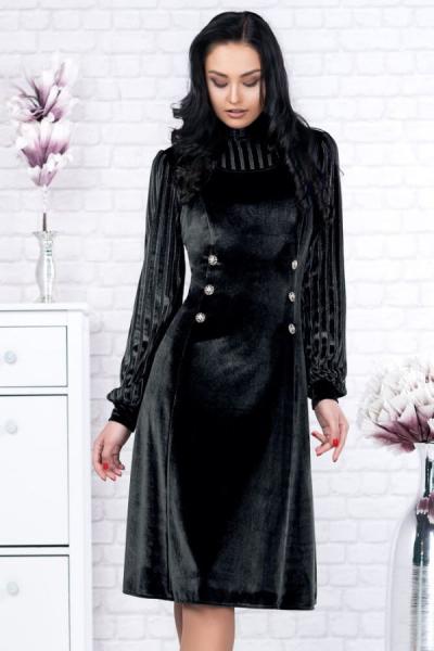 Rochie catifea neagra cu lame Isabela - Rochii catifea 1