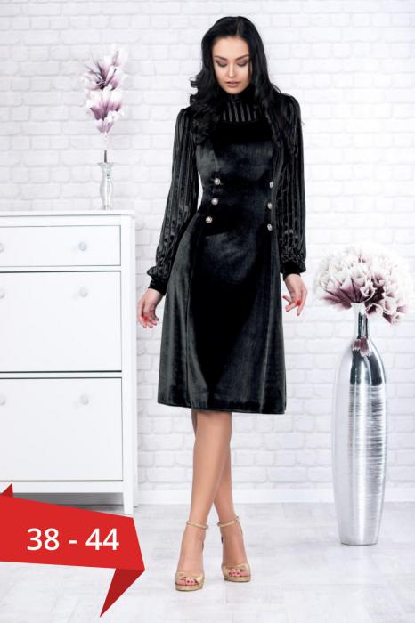 Rochie catifea neagra cu lame Isabela - Rochii catifea elegante 0