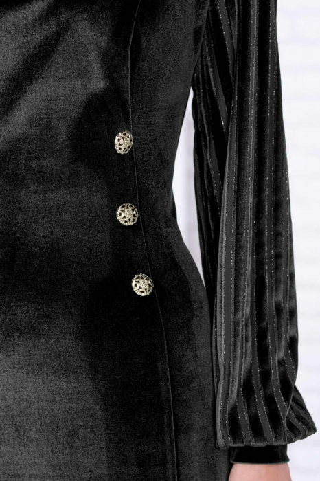 Rochie catifea neagra cu lame Isabela - Rochii catifea elegante 2