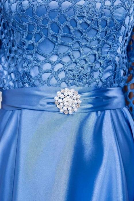 Rochii de ocazie ieftine - Rochie dantela albastra Sidonia 2