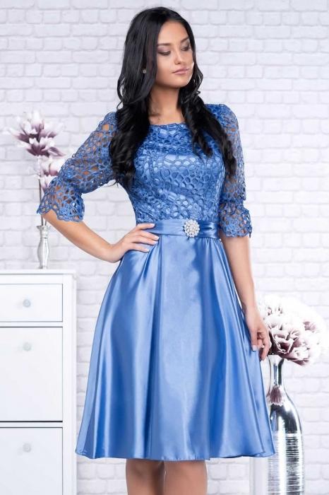Rochii de ocazie ieftine - Rochie dantela albastra Sidonia 3