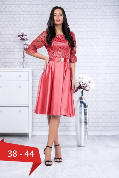 Rochii rosii elegante - Rochie dantela rosie Sidonia 0