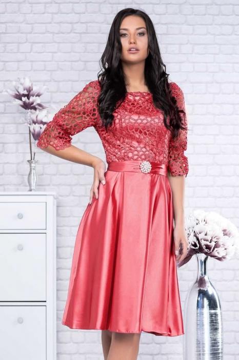 Rochii rosii elegante - Rochie dantela rosie Sidonia 1