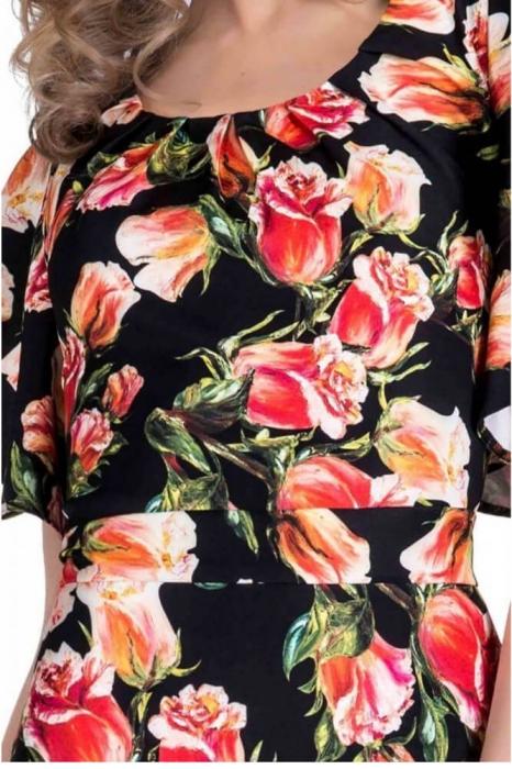 Rochii inflorate - Rochie cu imprimeu trandafiri Alberta, negru/rosu 2