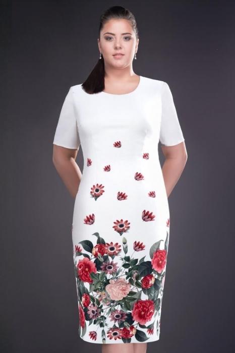 Rochii ieftine - Rochie de zi cu imprimeu floral Cristina alb 1