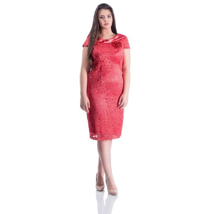 Rochie de ocazie din dantela si saten Gabriela, coral 0