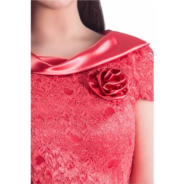 Rochie de ocazie din dantela si saten Gabriela, coral 1
