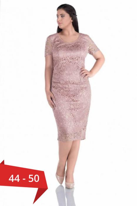 Rochii elegante din dantela - Rochie bej din dantela Grace 0