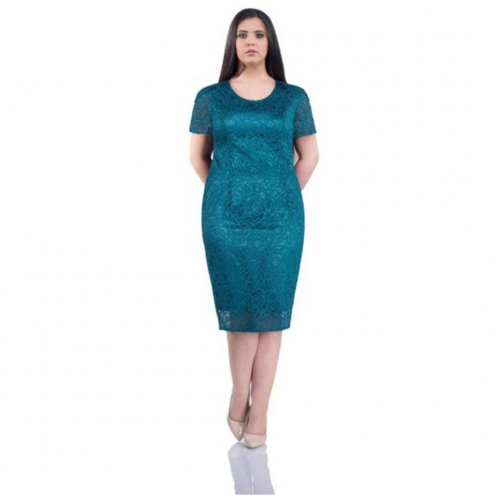 Rochie de ocazie din dantela si saten Grace, turquoise 0