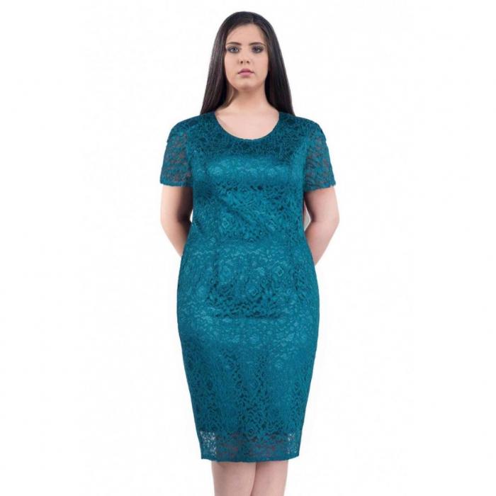 Rochie de ocazie din dantela si saten Grace, turquoise 1