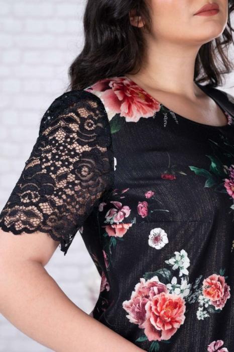 Rochie de ocazie femei plinute cu dantela Mery floral [2]