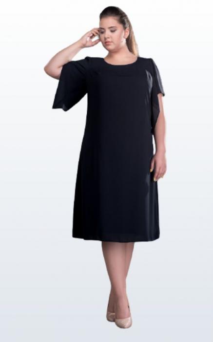 Rochie de ocazie midi din voal negru marimi mari [0]