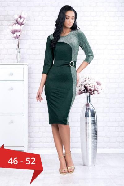 Rochie de ocazie midi verde Henrieta - Rochii de ocazie marimi mari 0