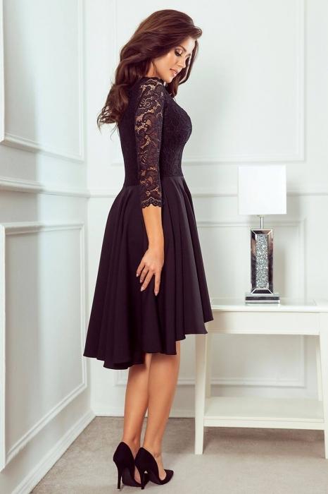 Rochii elegante de seara din dantela - Rochie asimetrica din dantela Nicolle negru 2