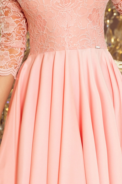 Rochii asimetrice de seara - Rochie de seara din dantela roz 3