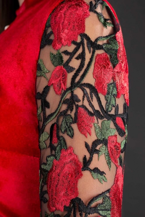 Rochii de catifea - Rochie scurta de seara din catifea Iris rosu 1