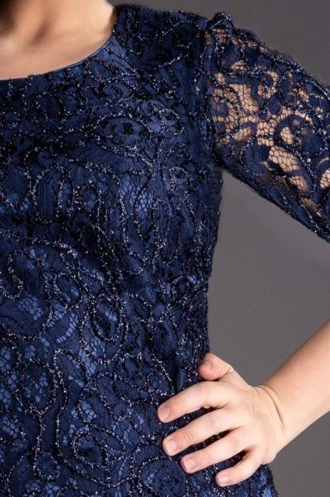 Rochie midi eleganta din dantela Marlo bleumarin 3