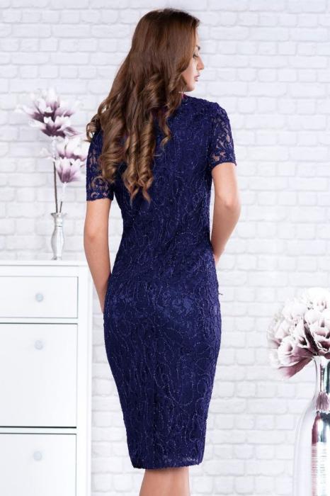 Rochie midi eleganta din dantela Marlo bleumarin 1