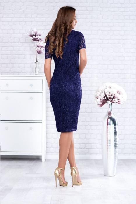 Rochie midi eleganta din dantela Marlo bleumarin 2