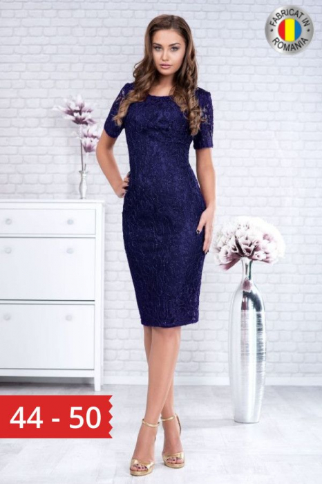 Rochie midi eleganta din dantela Marlo bleumarin 0
