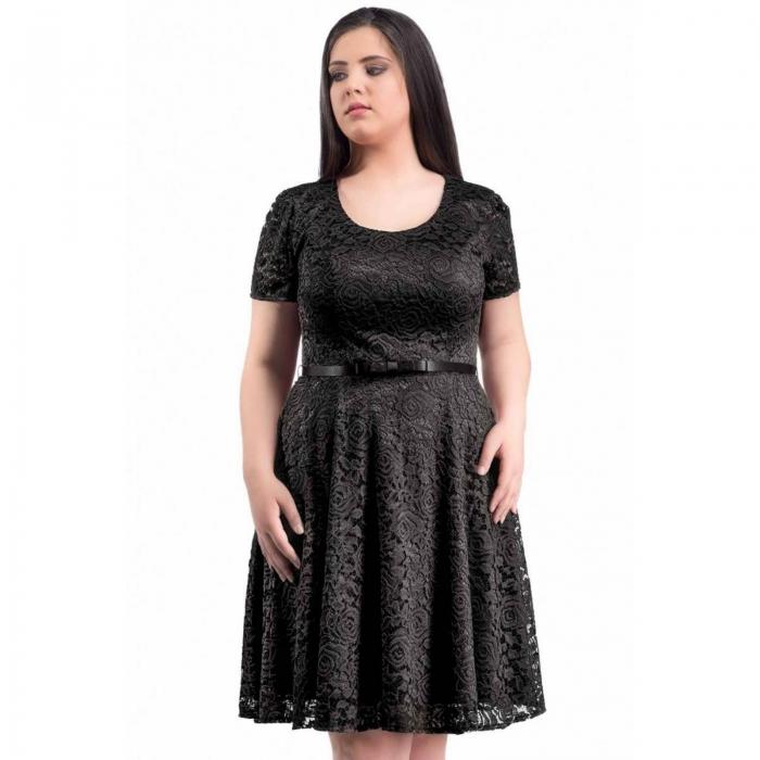 Rochie eleganta scurta din dantela neagra - Marimi mari [1]