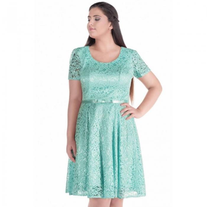 Rochii dantela ieftine pentru femei plinute - Rochie eleganta Sonia verde 1