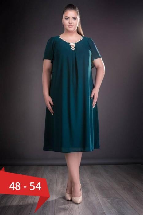 Rochii voal - Rochie verde din voal marimi mari Renata 0