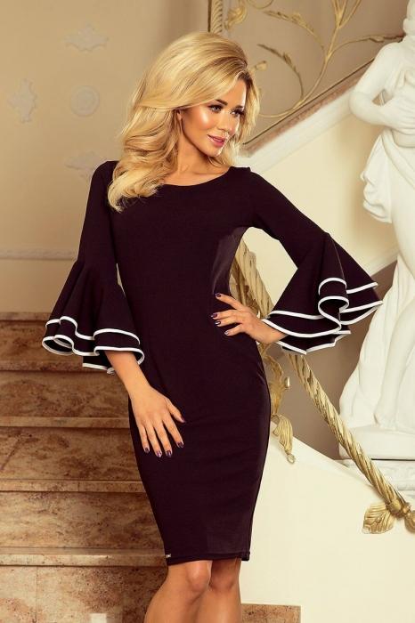 Rochii midi elegante - Rochie neagra eleganta de ocazie Carmen 1