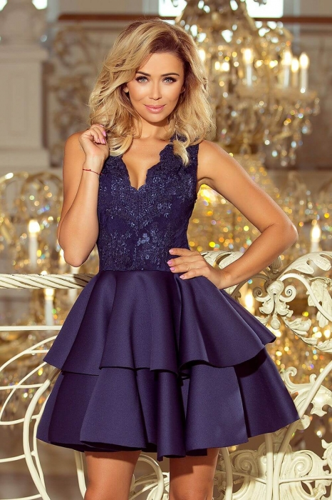 Rochie scurta eleganta de seara Alexis bleumarin 1