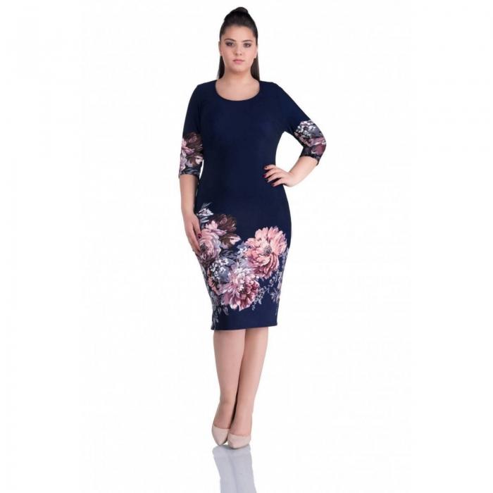 Rochii casual - Rochie de zi cu imprimeu floral Anisoara bleumarin 0