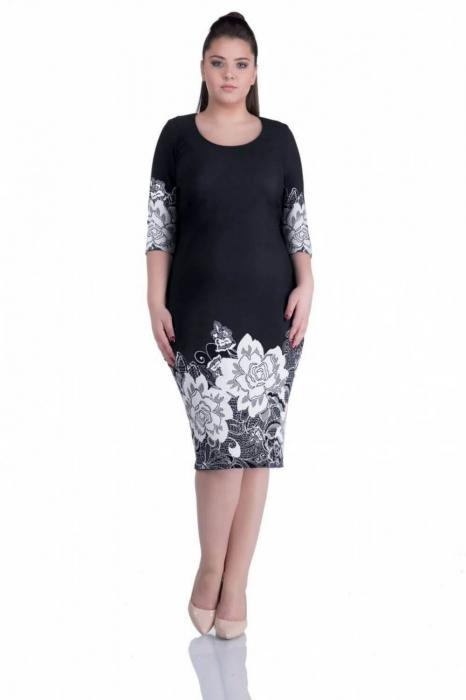 Rochii ieftine de zi - Rochie de zi cu imprimeu floral Anisoara, negru 0