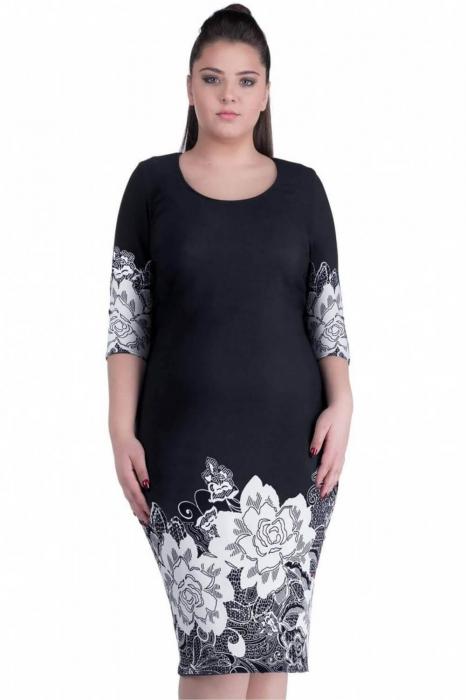 Rochii ieftine de zi - Rochie de zi cu imprimeu floral Anisoara, negru 1