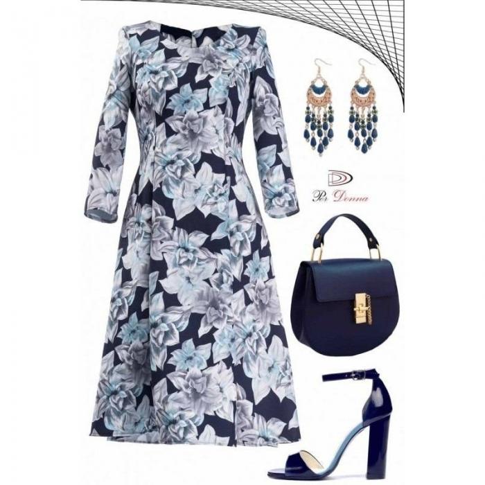 Rochie de zi cu imprimeu floral Cali Per Donna bleumarin 1