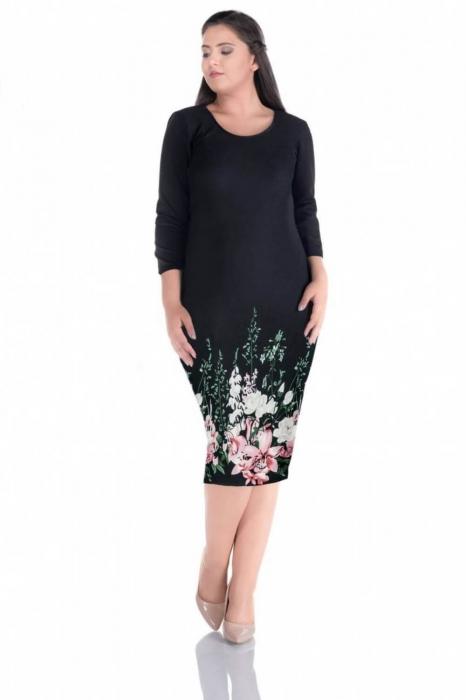 Rochii ieftine marimi mari - Rochie de zi cu imprimeu floral Sarina negru 0