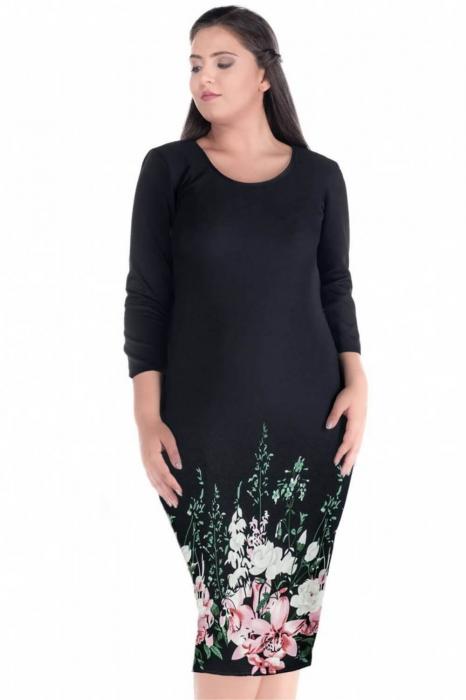 Rochii ieftine marimi mari - Rochie de zi cu imprimeu floral Sarina negru 1