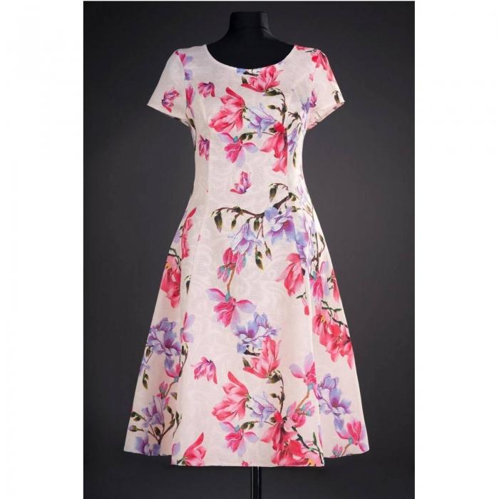Rochie de zi cu imprimeu floral Silvia, crem 0