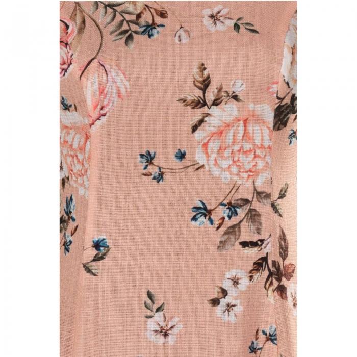 Rochii ieftine - Rochie de zi cu imprimeu floral Silvia culoare piersica 1