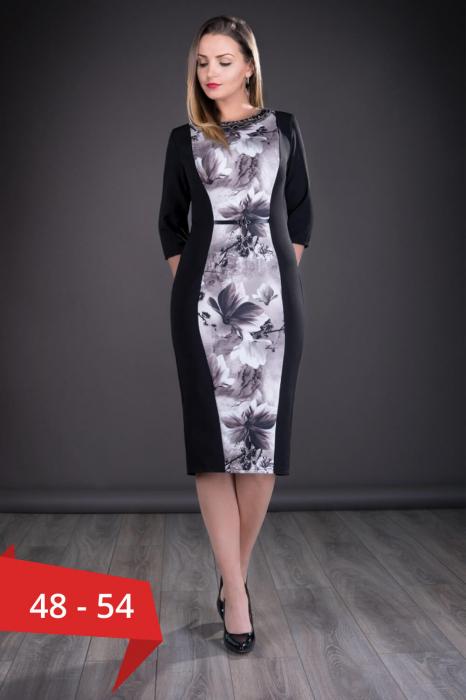 Rochii de zi marimi mari - Rochie de zi cu imprimeu floral Vera negru 0