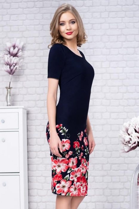 Rochii de zi elegante-rochie de zi imprimeu floral Zamfira bleumarin [1]