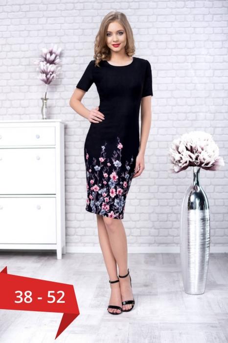 rochii de zi elegante-rochie de zi cu imprimeu floral Zamfira negru 0