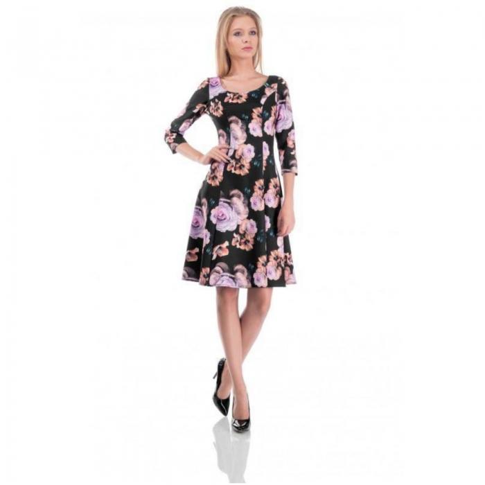 Rochie midi clos cu imprimeu floral Cali negru 0