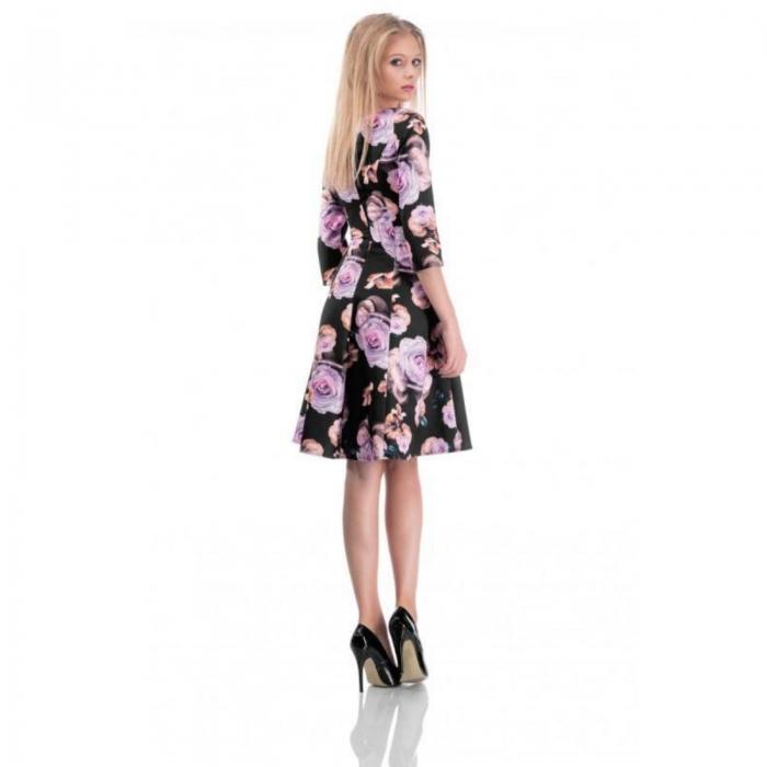 Rochie midi clos cu imprimeu floral Cali negru 3