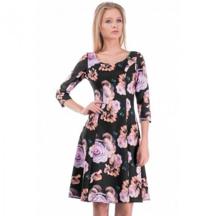 Rochie midi clos cu imprimeu floral Cali negru 1